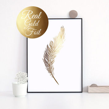 Feather Real Gold Foil Print, Wall Art, Illustration Art Print, Gold Foil Art Print, Gold Home Decor, Gold Wall Art, Gold Print.