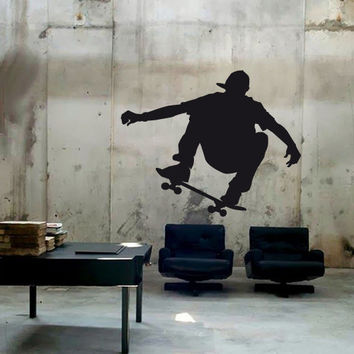 Wall Decor Vinyl Sticker Room Decal Skate Skateboard Sport Man People Boy Drive Driving Rolling (s232)