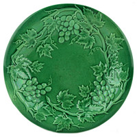 Green Majolica Plate with Grapes Antique English 19th Century