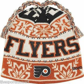 Philadelphia Flyers Men's Reebok Cuffless Knit Hat with Braids