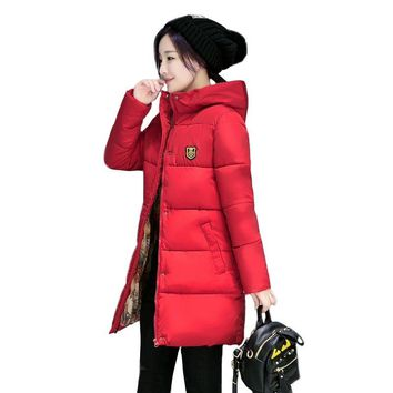 Long Parkas Female Women Winter Coat Thick Warm Cotton Hooded Basic Jacket Womens Winter Outerwear chaqueta mujer 2018 New