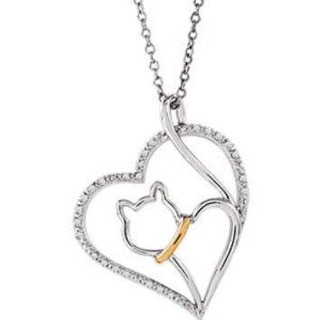 "Sterling Silver & 10K Yellow 1-10 CTW Diamond Cat Heart 18"" Necklace"