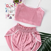 ZAN.STYLE High Cut Shorts Two Piece Set Color Patchwork Halter Strap Camis Cropped Top Ruffles Shorts Girl Beach Suit Sweet Pink