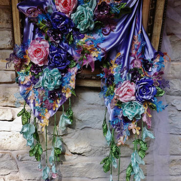 Lilac Victorian Shawl Scarf  Purple Pink Aqua Roses Embroidered Sequined Appliques Dangling Roses Lace Rhinestones Piano Shawl