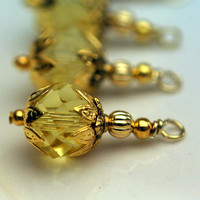 Yellow Crystal and Gold Bead Dangle Charm Drop Set 4 Pieces