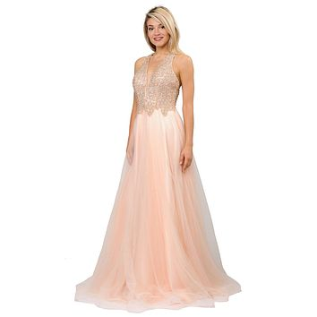 Beaded Long Prom Dress with Strappy Open-Back Champagne