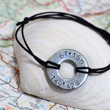 Custom Metal Stamped Latitude/Longitude Bracelet - Military / Long Distance Relationship / Deployment