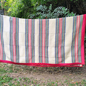 Vintage Wool Striped Camping Blanket Hand Stitched White with Black Red Green Stripes