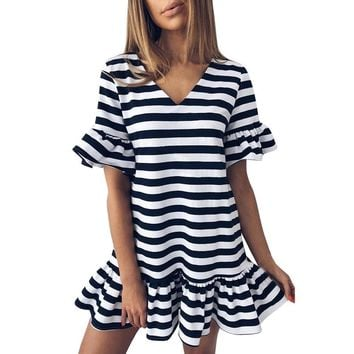 Fashion Womens Butterfly Sleeve V-Neck Stripe Print dress Bohemian style ladies Ruffles Short Mini Dresses vestidos de festa