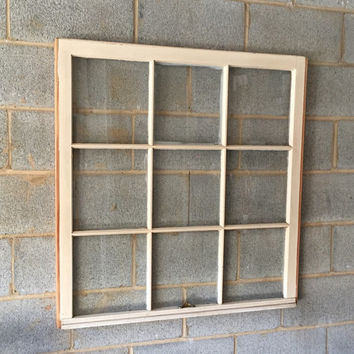 "Vintage 9 Pane Window Frame - 36W"" x 37L"", White, Rustic, Antique, Wedding, Beach Decor, Photos, Pictures, Engagement, Holiday, Business"