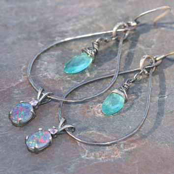 Australian Opal Apatite Earrings,  Teardrop Earrings, Blue Opal Earrings, Long Earrings, Apatite Dangle Earrings Maggie McMane Designs