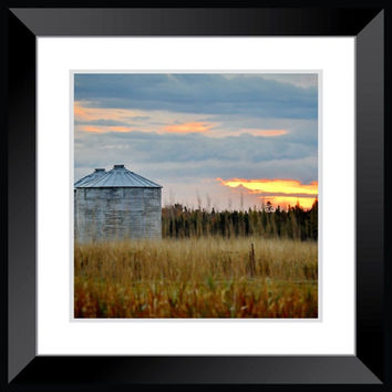 landscape farm photography rustic farm decor sunset photography orange blue large poster wall art home decor