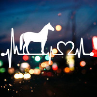 White Horse Cartoon Electrocardiogram Car Window Bumper Pvc Decal Truck Sticker