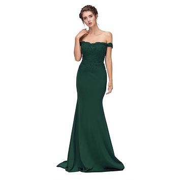 Lace Appliqued Bodice Long Formal Dress Off-Shoulder Hunter Green