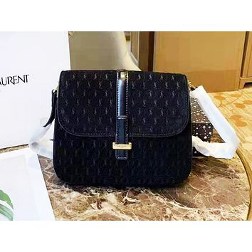 YSL hot selling fashionable lady's single shoulder bag shopping bag with full printing in pure color Black