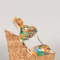Women's Bamboo Watercolor Knotted Embellished Cork Platform Wedge