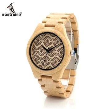 BOBO BIRD CdI28 Mens Wooden Watch Ebony Band Wavy pattern Dial Face Japan Quartz Clock for Men in Gift Box