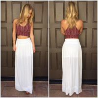 Crop The Harvest Print Tank - BURGUNDY