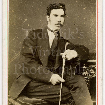 CDV Carte de Visite Photo Victorian Young Handsome Mustached Man Holding a Cane by W Stewart of Kirkcudbright Scotland