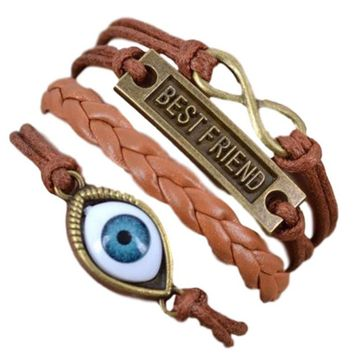 Brown with Eyeball, Best Friend & Infinity Charms Multi Layered Faux Leather Wrap Fashion Bracelet
