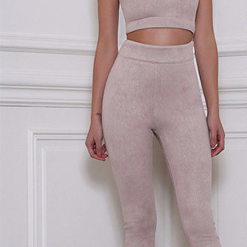 Elliane Suede Pant Set