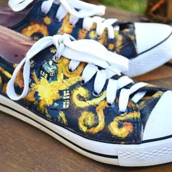 Handpainted Doctor Who Vincent Van Gogh Tardis Shoes Vincent and The Doctor Converse K