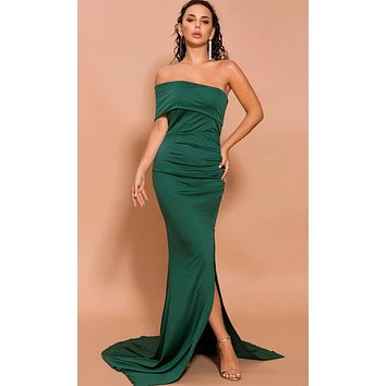 Silky Smooth Emerald Green One Sleeve Fold Over Off The Shoulder Ruched High Slit Mermaid Maxi Dress