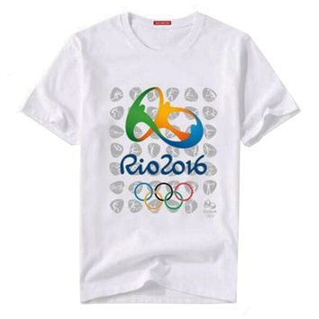 Rio 2016 Olympic Games Round Neck Tee Commemorative Sports T-shirt -XXL White