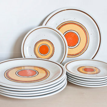 12 Piece Mid Century Sunburst Nikko Color Stone Dinnerware Set, Japanese Stoneware, Bright 1970's Orange Yellow Plates