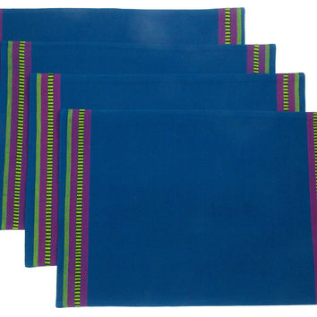 Really Carson Blue Placemats Set 4 19x13 Kitchen Dining Table Fabric 100% Cotton