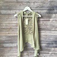 Olive Crochet Lace Inset Cardigan