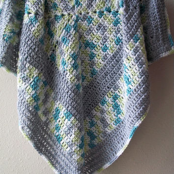 crocheted travel stroller afghan blanket for baby ~ teal, lime, white, grey ~