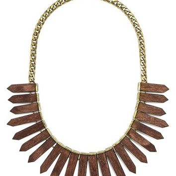 Women's BaubleBar 'Wood Ra' Bib Necklace - Antique Gold