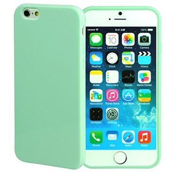 iPhone 6S Case, technext020 Apple iPhone 6S Mint green silicone Cover, Ultra Slim Gloss Gel Bumper iPhone 6 Case Aqua TPU bumper