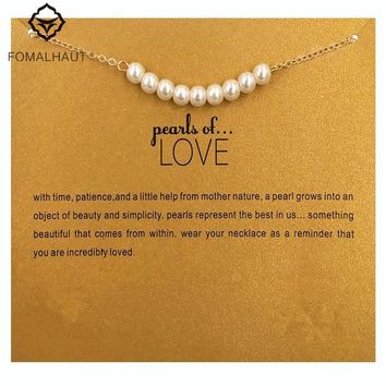 Nine imitation pearl of love Pendant Necklaces Clavicle Chains necklace Necklace Women FOMALHAUT Jewelry