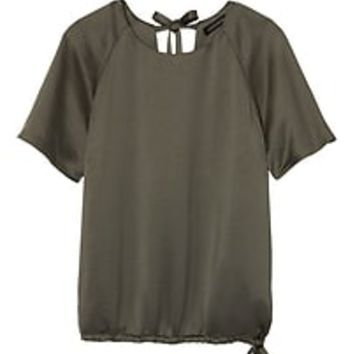 Satin Drawstring Hem Top|banana-republic