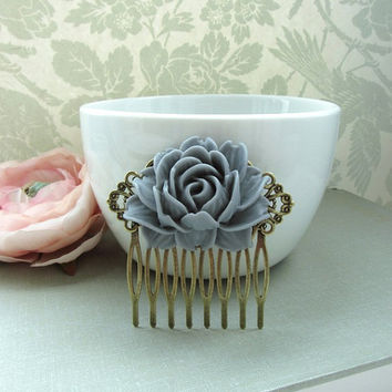 A Large Dark Grey Rose Flower Antiqued Brass Filigree Hair Comb. Statement Hair Comb. Bridesmaids Hair comb. Wedding Bridal Hair Comb.