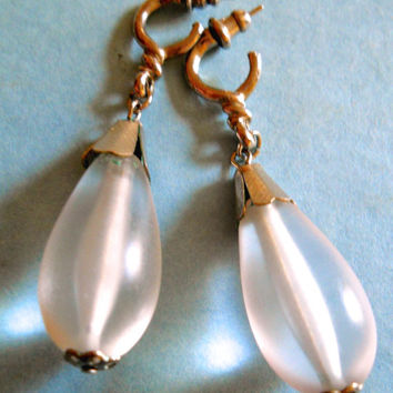 "Frosted Glass Tear Drop Earrings, Vintage 2-1/4"" Long"