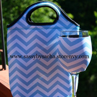 Blue & White Chevron Lunch Tote & Koozie Set from Sassy by Sacha