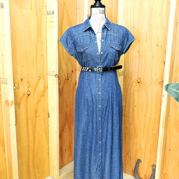 Long denim dress  S  / snap front form fit denim maxi dress / 90s Faded Glory jean dress / country / western / grunge