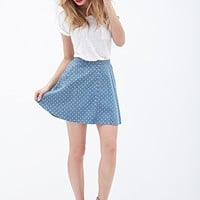 LOVE 21 Dotted Denim Skater skirt Denim/Ivory