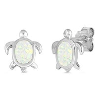 Sterling Silver Oval Created White Opal Turtle Stud Earrings