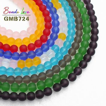 8MM Multicolor Dull Polish Matte Glass Beads Frosted Round Beads For Jewelry Making  Diy Bracelet Necklace Jewellery 15''