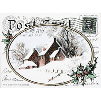 Stampendous Snowy Postcard Rubber Stamp Wood Block
