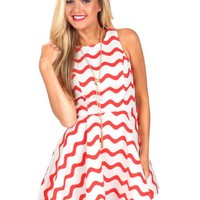 Let Yourself Go White And Red Wavy Print Dress | Monday Dress Boutique