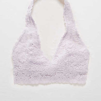 Aerie Lace Halter Bralette, Light Violet Burst