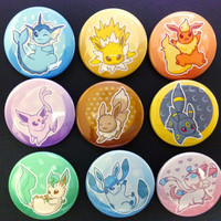 "Eevee and Eeveelutions Set of 1.5"" Buttons"