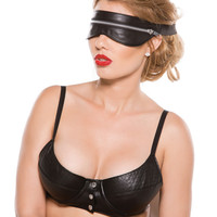 Faux Leather Zip Mask Black O-s