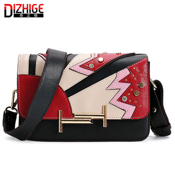 2016 Fahion Pu Leather Women Messenger Bags Patchwork Famous Brand Designer Single Shoulder Bags Bolsos Mujer De Marca Famosa