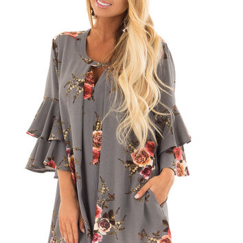 Stone Grey Floral Print Tunic with Layered Bell Sleeves